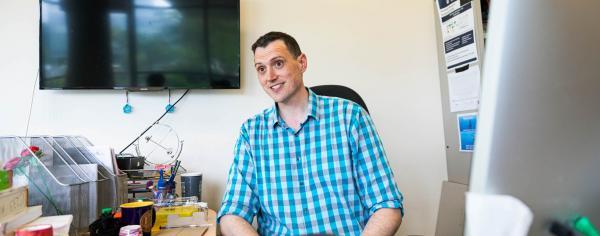 Professor in his office