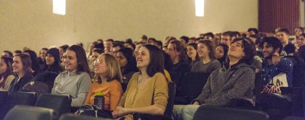 students watching improv