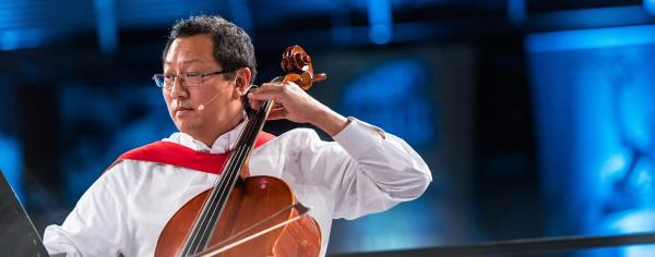 Prof Santa Ono playing the cello