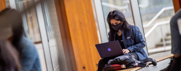 Student on their laptop in The Nest