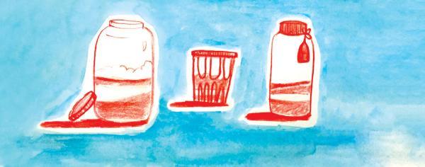 Illustration of red jars on a blue background