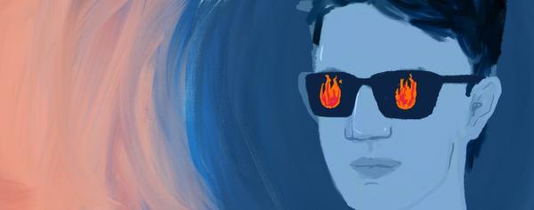 Illustrated figure wearing sunglasses