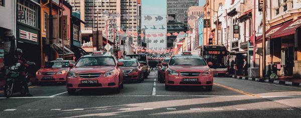 Singapore roadway from a crosswalk