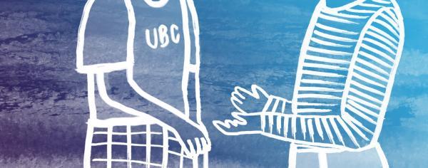 illustration of 2 students having a conversation