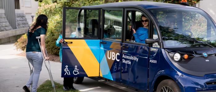 UBC student using the Accessibility Shuttle on campus