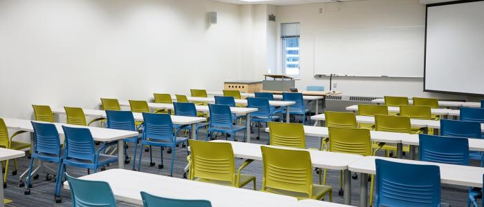 Empty classroom at West Mall Swing Space building