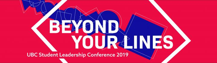 SLC 2019 - Beyond Your Lines - red background with white text, white frame and blue shapes