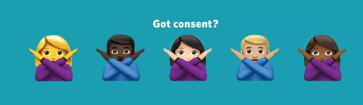 Get consent graphic image with 5 emojis