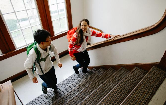 Students in a stairwell