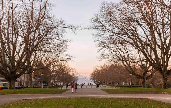 Campus during winter holidays