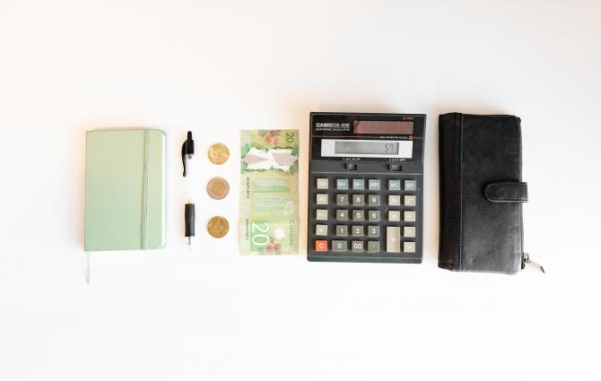 Budgeting materials laid out on a table