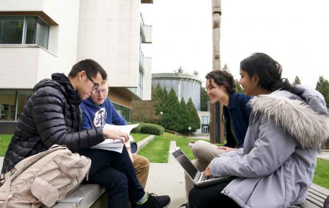 Group of students studying outside on campus