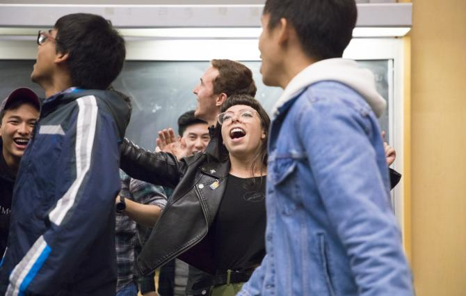 Students performing in UBC A Cappella