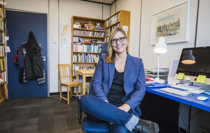 UBC Professor Lena Karlstrom sitting in her office.
