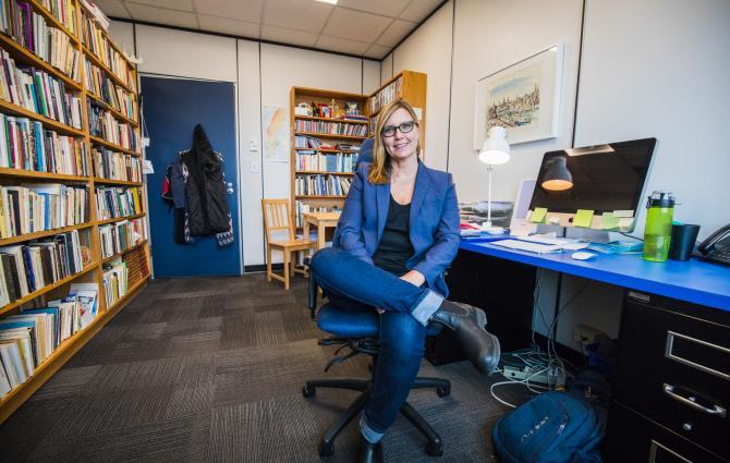 Prof Lena Karlstrom in her office