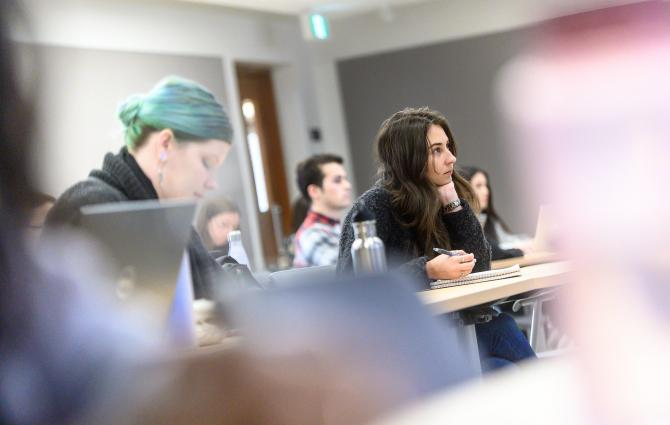A student learning in a UBC classroom.