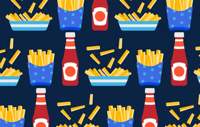 illustration of fries and ketchup