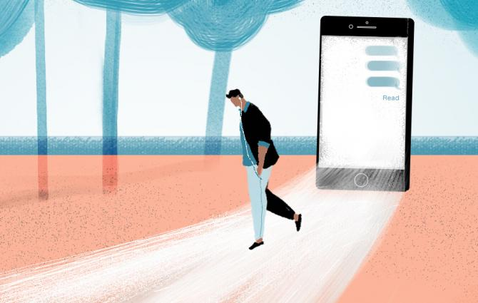 Illustration of person stepping out of a phone