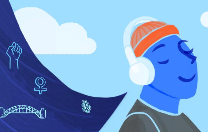 Illustration of person listening to podcasts through headphones