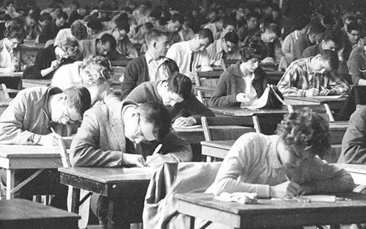 Taking exams in 1959