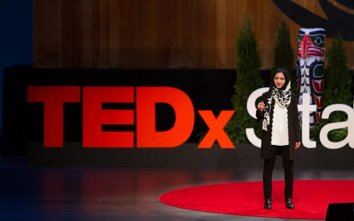 Zamina Mithani speaking at TEDx conference