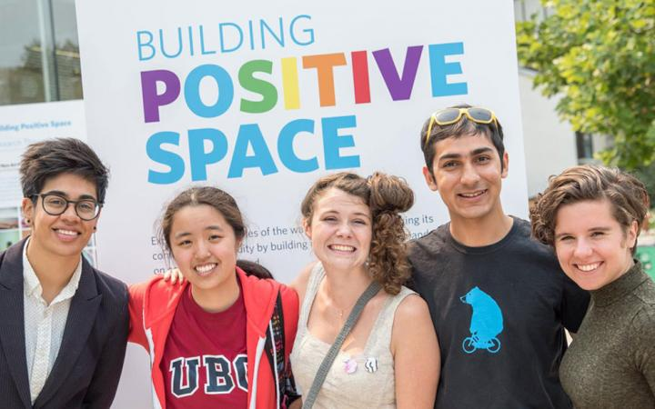 group of people standing in front of Positive Space poster