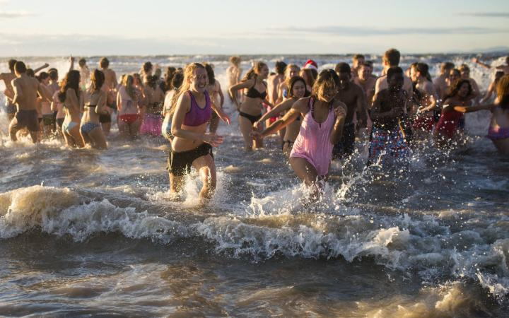 A big group of UBC students taking part in the annual Polar Bear Swim