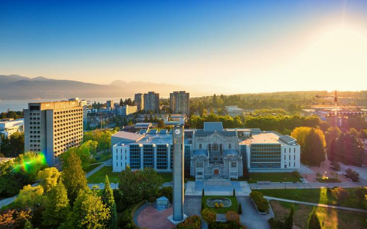Aerial shot of UBC campus