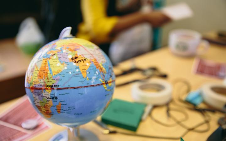 Small globe on a desk
