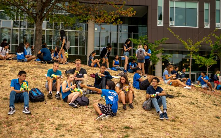 Students enjoying lunch outside the AMS Nest