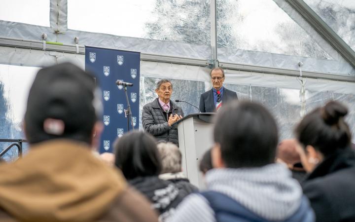 Elder Larry Grant speaking at the IRSHDC opening