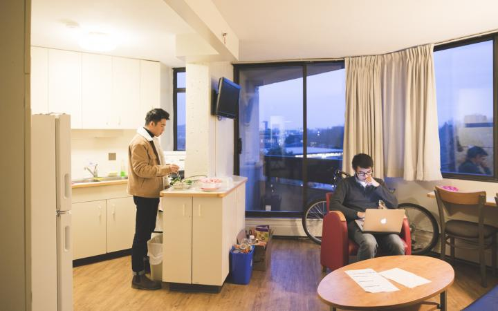 two student in an apartment