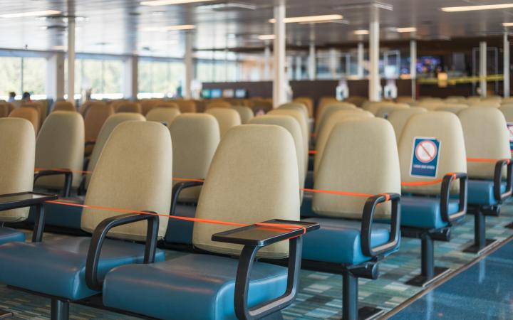 Cordoned off ferry seating