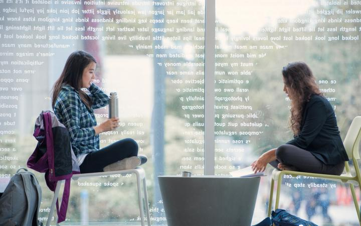 Two students studying on campus