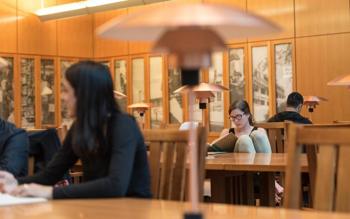 Students studying in Ridington Reading Room