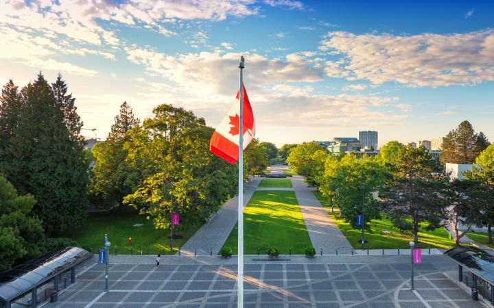A Canadian flag located on UBC Vancouver campus