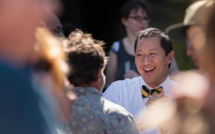 President Santa Ono meeting people on campus