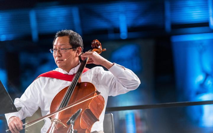 Prof Santa Ono playing the cello