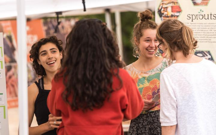 UBC students chatting at a campus event