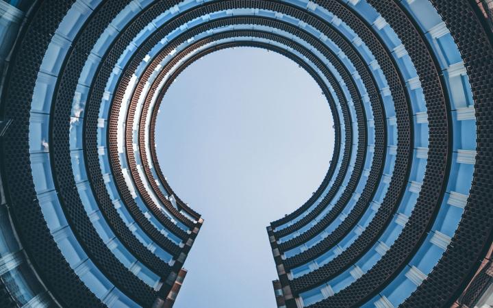 Circular European government building looking up