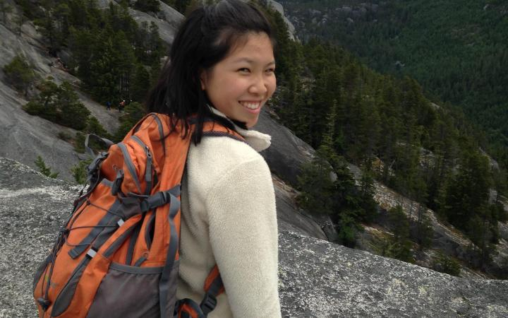 Emma Ng, a UBC student, posing while on a hike