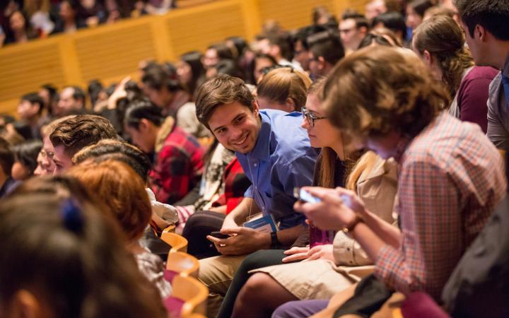 A student at a UBC SLC presentation