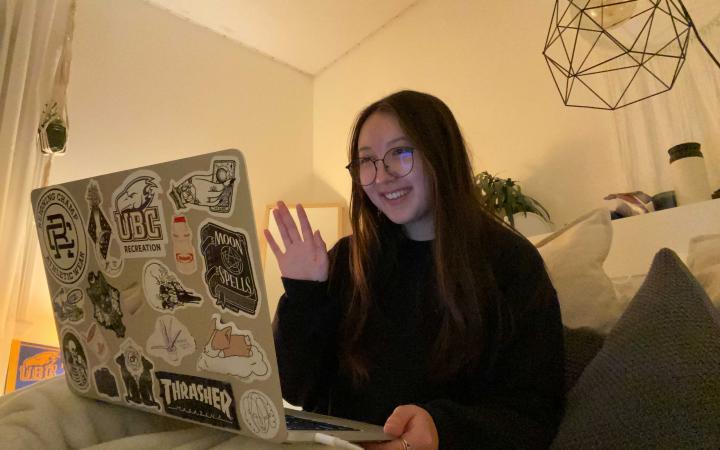 Kana at her laptop
