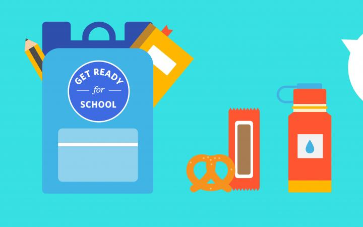 Illustration of a student's backpack, textbooks and water bottle
