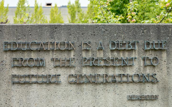 """George Peabody quote: """"Education is a debt due from the present to future generations."""""""