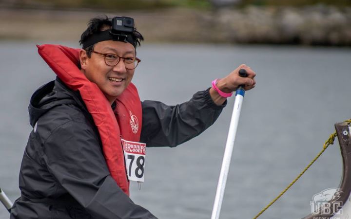Santa Ono rowing in Day of the LongBoat