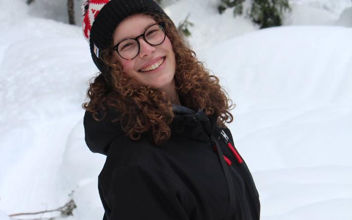 Sarah Semkow, a UBC student, outside on a snowy day