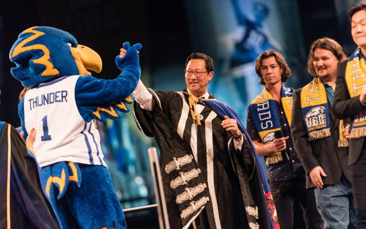 President Santa Ono with Thunderbird at the Pep Rally