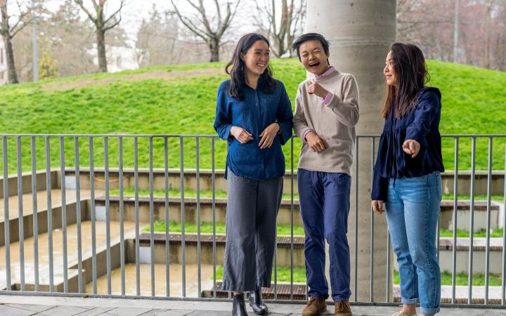 laughing students