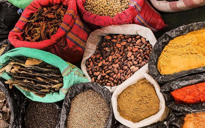 Bags of spices at an Ecuadorean market
